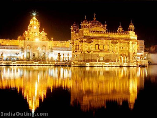golden temple amritsar at night. hair The Golden Temple in