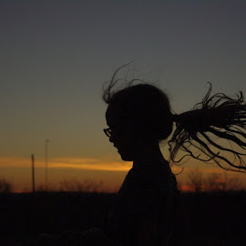 Hair At Sunset by Jason Gaston - Babies & Children Child Portraits ( wild, sunset, silhouette, sunrise, hair )