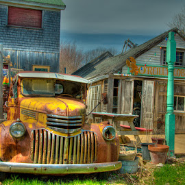 O'Reilly Lobster CooP by Chris Cavallo - Transportation Automobiles ( lobster trap, coop, truck, maine buoy, kennebunk, lobster, rusty, yellow, decay )