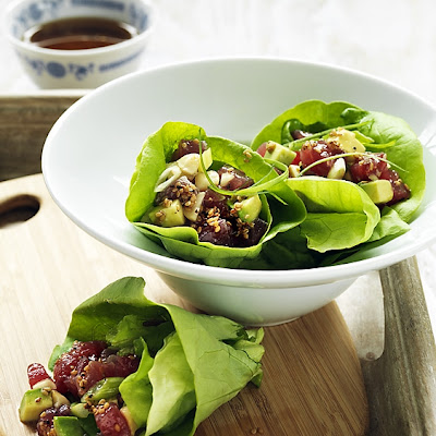 Tuna Poke In Lettuce Cups With Toasted Sesame Dressing
