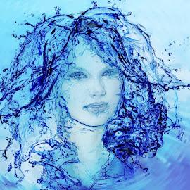 Wet by Angelica Glen - Digital Art People ( water, face, splash, blue, ripples, wet, hair )