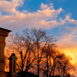 Sunset in front of Antim Monastery Church by Constantinescu Adrian Radu - City,  Street & Park  Street Scenes ( antim monastery, bucharest, sunset )