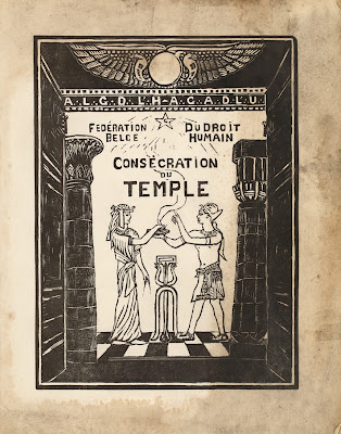 Front illustration of the program of the inaugural meeting of the Temple of the Belgian Federation of Human Right in Brussels, 1935