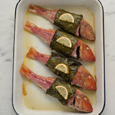 Red Mullet Baked in Grape (Vine) Leaves