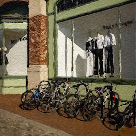 Window Display For Bikes by Allen Crenshaw - Digital Art Places ( georgetown, candids, city streets, digital art, architecture, photography )