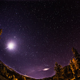 a night in the mountains by Lucas Strawhorn - Landscapes Starscapes ( mountains, fisheye, moon, stars, night )