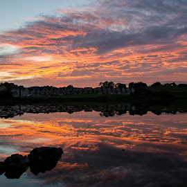 Sky on Fire by Ollie Gargan - Landscapes Sunsets & Sunrises ( water, sky, ireland, colors, sunset, lake, landscape,  )