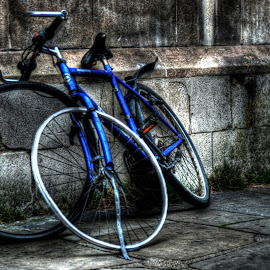 Blue bike by Greg Brzezicki - Transportation Bicycles ( bike, blue, street, cambridge, city )
