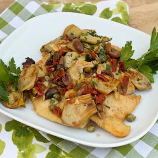 Pan Fried Whitefish with Artichokes, Olives, and Sun-Dried Tomatoes