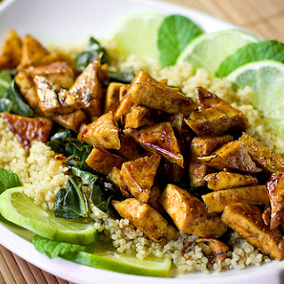 Sweet Chili Lime Tofu with Wok Steamed Collards and Quinoa