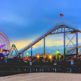 Santa Monica Pier by Dean Mayo - City,  Street & Park  Amusement Parks ( amusement park, roller coaster, santa monica pier, fun, beach, ferris wheel,  )