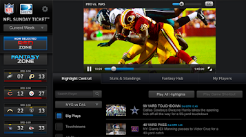 Screenshot of NFL Sunday Ticket for Tablets