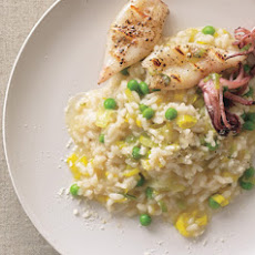 Leek and Pea Risotto with Grilled Calamari