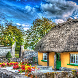 Cottage by Monika Tržić - Buildings & Architecture Homes ( sky, ireland, tree, hdr, blue, cottage, street, trees, yellow, flowers, garden, adare )