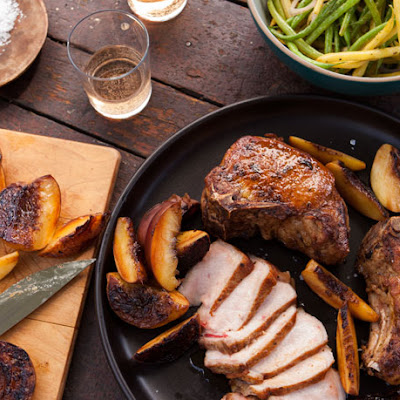 Grilled Pork Chops and Peaches with Pole Beans
