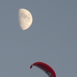 Re-entry by Anne Brooks Butcher - Sports & Fitness Other Sports ( oludeniz, moon, sky, paraglider, dusk )