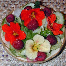 Salad Greens With Nasturtium Flowers