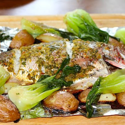 Asian Inspired Roasted Red Snapper & Braised Bok Choi