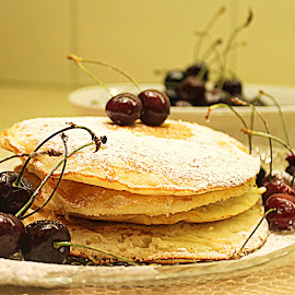 Pancakes by Maham Elahi - Food & Drink Cooking & Baking ( cherry, iced sugar, pancakes, dessert,  )