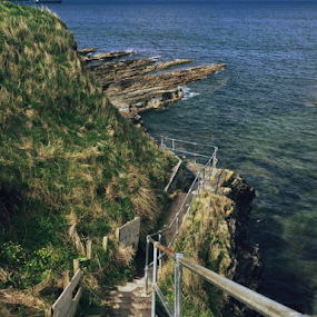 Thurso by Alina Jumabhoy - Instagram & Mobile iPhone ( cliff, staircase, sea, travel, walk, coastal, coast )
