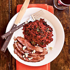 Grilled Flatiron Steaks with Kale and Beet Risotto