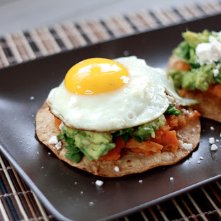 Guacamole Tostadas with Sweet Potatoes and Fried Eggs