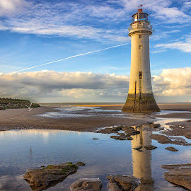 Return To Perch Rock by Glyn Owen - Buildings & Architecture Architectural Detail ( seascape lighthouse reflections landscape landmark wirral new brighton cloudscape architecture beach rocks ripples )