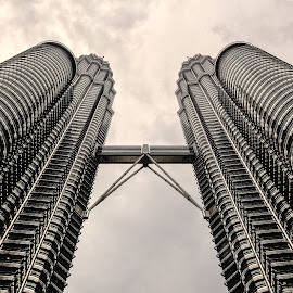 Twins to the sky by Giorgio Ramella - City,  Street & Park  Vistas ( petronas twin towers, skyscraper, 2014, asia, malaysia,  )