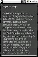 Screenshot of DaysCalc