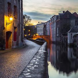 Evening Stroll in Bruges by Stephen Bridger - City,  Street & Park  Neighborhoods ( reflection, europe, bruges, belgium, travel, canal, travel photography )