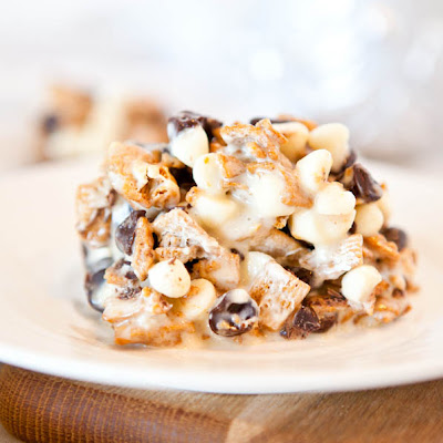 Deep Dish Double Chocolate Golden Grahams Smores Bars
