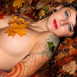 Kayla in the Fall by Mark Davis - People Body Art/Tattoos ( model, topless, fall, leaves, tattoo, blue, orange. color )