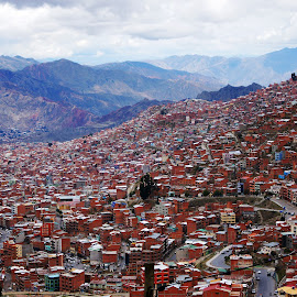 La Paz by Tobias Weller - City,  Street & Park  Vistas ( hills, slum, mountains, brick, south america, la paz, bolivia, city )