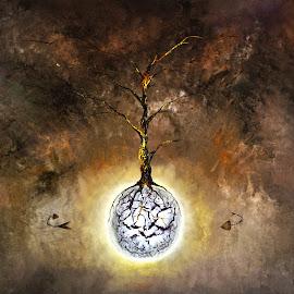 tierra viva by Mauricio Silerio - Painting All Painting ( albero, tree, fish, arbol, pez )