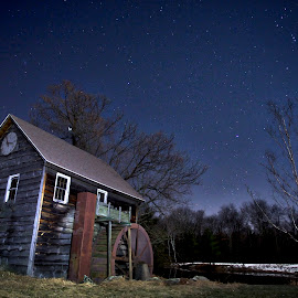 Waterwheel Under the Stars by Jon Jones - Buildings & Architecture Other Exteriors ( stary, december, old, stars, waterwheel, night, old building,  )