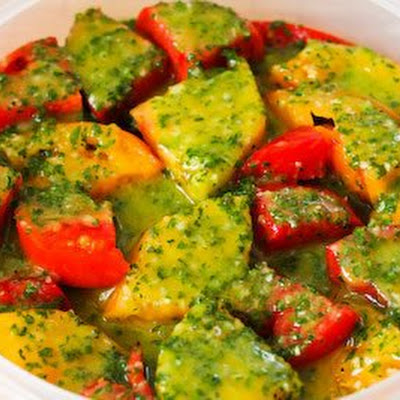 Marinated Tomato Salad with Parsley and Marjoram Dressing