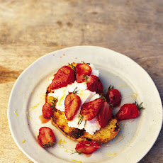 Charred Eggy Bread With Strawberries & Honey