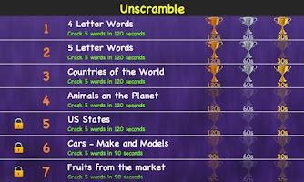 Screenshot of Unscramble Jumbled Words Games