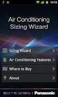 Screenshot of Panasonic Aircon Sizing Wizard
