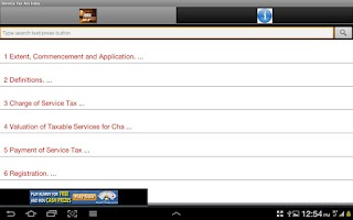 Screenshot of Service Tax Act India