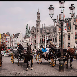 Market Square in Brugge. by Simon Page - City,  Street & Park  Markets & Shops