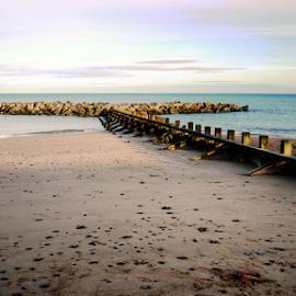 Aberdeen beach, Scotland by Mike Bing - Landscapes Beaches ( sand, scotland, north sea, uk, sunset, sea, aberdeen, beach, shadows )