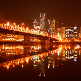 Hawthorne At Night by Loren Bates - Buildings & Architecture Bridges & Suspended Structures ( oregon, portland, willamette, bridge, hawthorne )