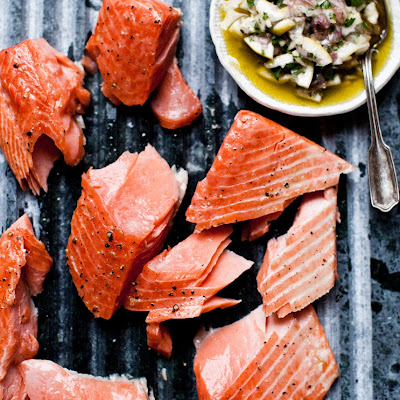 Slow-cooked salmon with Meyer lemon relish