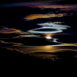 Hiding Behind Clouds by Janet Aguila Krause - Landscapes Cloud Formations ( moon, shay meadows, super moon, big bear, supermoon, moonrise )