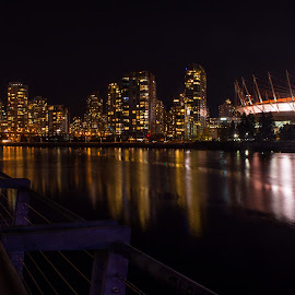 False Creek Skyline by E.g. Orren - City,  Street & Park  Skylines ( night photography, false creek, photo by ego, vancouver, bc place )