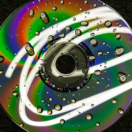 CD by Brent Gudenschwager - Abstract Light Painting ( light painting, long exposure, rainbow, cd, droplets )