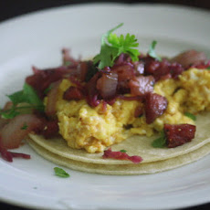 "Austrian Breakfast Tacos with Spicy ""Sauerkraut"" and Summer Sausage"