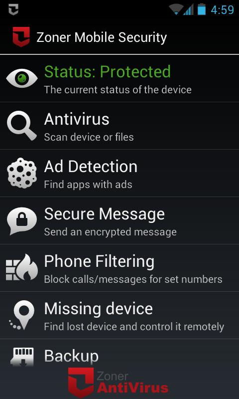 Zoner Mobile Security Screenshot