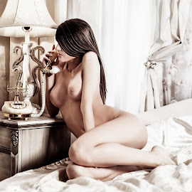 Let's talk by Nicolae Matic - Nudes & Boudoir Artistic Nude ( erotic, lust, phone, nude, long hair, naked, bed, woman, breasts, legs, hotel, sensual,  )